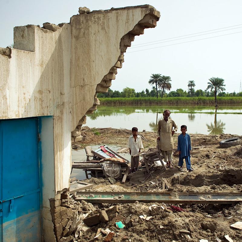 Pakistan - Maisons dévastées